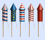 Firework rockets. Set of pyrotechnic rockets, with design for fourth of july, and other holidays, EPS 10 contains transparency Royalty Free Stock Photography