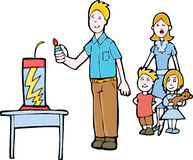 Firework Safety. Father lights the firework safely while the mom and children stand back Royalty Free Stock Image