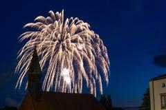 Firework in Schwandorf. A firework behind a little church in Schwandorf, Bavaria Stock Photography