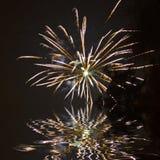 Firework sea water reflection pattern Royalty Free Stock Photo