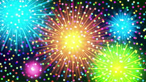 Firework, Seamless Loop. Fullhd 1920x1080 Progressive Seamlessly Looping Video of Colorful Firework of Various Colors in Night Sky with Confetti. Animated stock illustration