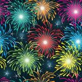 Firework Seamless Pattern_eps. Illustration of design fireworks seamless pattern with star night scene Stock Image