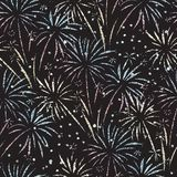 Firework seamless vector pattern. Glitter foil isolated. Metallic shiny fireworks on black background. Bright decoration Christmas. Card, Happy New Year vector illustration