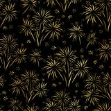 Firework seamless vector pattern. Gold foil isolated. Metallic shiny fireworks on black background. Bright decoration Christmas. Card, Happy New Year vector illustration