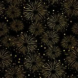 Firework seamless vector pattern. Gold foil isolated. Metallic shiny fireworks on black background. Bright decoration Christmas card, Happy New Year stock illustration