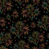 Firework seamless vector pattern isolated. Bright colorful Fireworks on black background. Bright decoration Christmas card, Happy New Year, celebration vector illustration