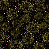 Firework seamless vector pattern isolated. Colorful fireworks on black night sky background. Bright decoration Christmas card,. Happy New Year celebration royalty free illustration