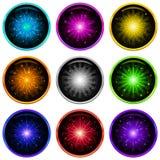 Firework, set buttons Stock Photo