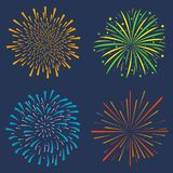 Firework set. Collection of festive bursting, celebration explosion, anniversary salute isolated on dark background. Vector. Firework set. Collection of festive Stock Images