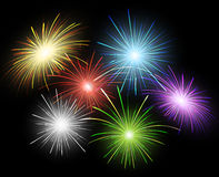Firework set. Colorful firework set on black sky eps10 Stock Images