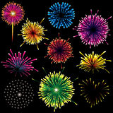 Firework Set. Great firework set - design elements isolated over black night sky Stock Photo