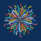 Firework shapes colorful festive vector icon. Firework shapes vector illustration. Colorful festive bright collage design brochures poster, wrapping paper Royalty Free Stock Images