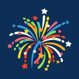 Firework shapes colorful festive vector icon. Firework shapes vector illustration. Colorful festive bright collage design brochures poster, wrapping paper Stock Image