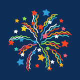 Firework shapes colorful festive vector icon. Firework shapes vector illustration. Colorful festive bright collage design brochures poster, wrapping paper Stock Photography