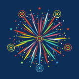 Firework shapes colorful festive vector icon. Firework shapes vector illustration. Colorful festive bright collage design brochures poster, wrapping paper Royalty Free Stock Image