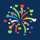 Firework shapes colorful festive vector icon. Royalty Free Stock Photos