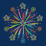 Firework shapes colorful festive vector icon. Royalty Free Stock Image