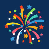 Firework shapes colorful festive vector icon. Royalty Free Stock Photo