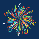 Firework shapes colorful festive vector icon. Stock Photos
