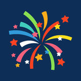 Firework shapes colorful festive vector icon. Stock Image