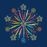 Firework shapes colorful festive vector icon. Stock Photo