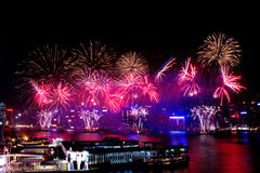 Firework Show. A great firework show in Hong Kong Victory harbour Stock Images