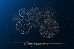 Firework show  on blue transparent background. Independence day concept. Congratulations background. Vector illustration Royalty Free Stock Photo