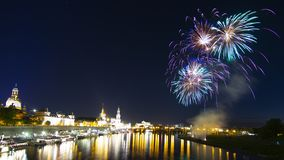 Firework-show after city-festival in Dresden royalty free stock image