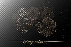 Firework show isolated on transparent background. Independence day concept. Congratulations background. Vector illustration Stock Images