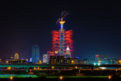 Firework show for new year in taipei Stock Photo