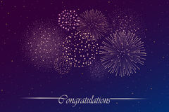 Firework show on night sky background. Independence day concept. Congratulations background. Vector illustration Stock Images