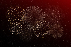 Firework show on night sky background. Independence day concept. Vector illustration Royalty Free Stock Photo