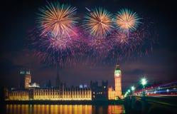 Firework show over Big Ben at night, London. UK Royalty Free Stock Image