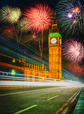 Firework show over Big Ben at night, London. UK Stock Image
