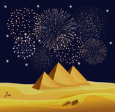 Firework show over Egyptian pyramids in the desert with star night sky. Vector illustration Stock Photos