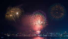 Firework Show at Pattaya Stock Image