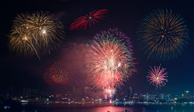 Firework Show at Pattaya Stock Photos