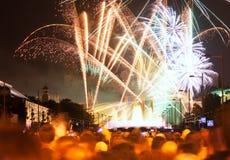 : Firework show at Plaza de Espana in Barcelona Royalty Free Stock Photos