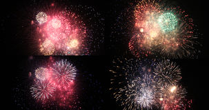 Firework show set. A collage of some beautiful fireworks Stock Photography