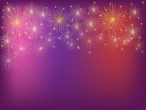 Firework show. Shining fireworks over purple background Stock Photos