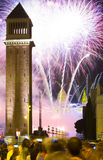 Firework show at square of Spain Royalty Free Stock Image