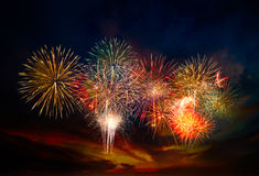 Firework on sky. Beautiful firework in festival event exploding on night scene sky Royalty Free Stock Images