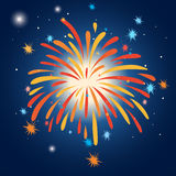 Firework in the sky at night. Illustration Stock Photo