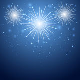 Firework in the sky. Shiny firework in the blue sky, illustration Stock Photography