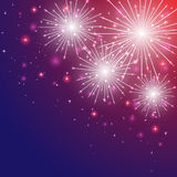 Firework in the sky. Shiny firework with stars on violet background, illustration Royalty Free Stock Photos