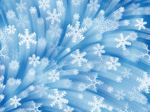 Firework of snowflakes. Blue background Stock Photography