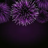Firework sparkle background card. Beautiful bright fireworks  on black background. Light pink decoration. Fireworks for Christmas card, New Year celebration Stock Photography