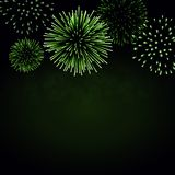 Firework sparkle background card. Beautiful bright fireworks isolated on black background. Light green decoration. Fireworks for Christmas card, New Year Royalty Free Stock Photos