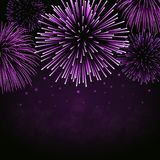 Firework sparkle background card. Beautiful bright fireworks  on black background. Light pink decoration fireworks for Christmas card, New Year celebration Royalty Free Stock Image