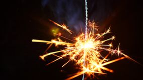 Firework sparkler burning in macro shot on a black background. 4k. Slow motion stock video footage